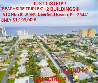 Deerfield Beach Multi Family Home For Sale: 1912 NE 7th Street #1-3