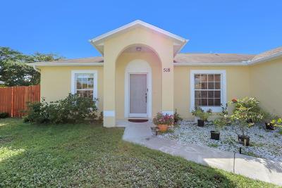 Port Saint Lucie Single Family Home For Sale: 518 SW Ryan Avenue