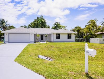 Fort Pierce Single Family Home For Sale: 5602 Myrtle Drive
