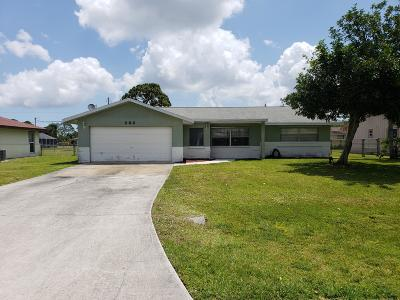 Port Saint Lucie Single Family Home For Sale: 365 NW Hogan Street