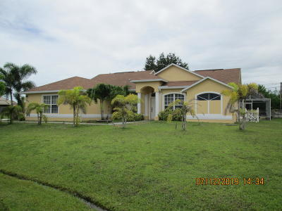 Port Saint Lucie Single Family Home For Sale: 3824 SW Kober Road