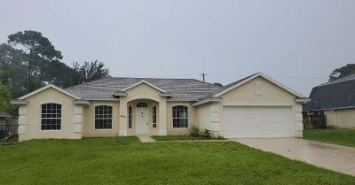 Port Saint Lucie Single Family Home For Sale: 2957 SW Fluvia Street