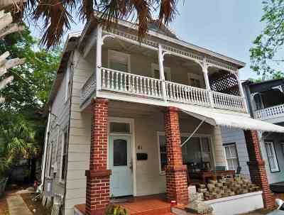 St Augustine Single Family Home For Sale: 61 Martin Luther King Ave