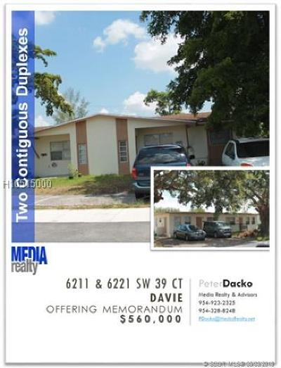 Davie Multi Family Home For Sale: 6211 SW 39th Ct