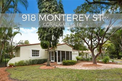 Coral Gables Single Family Home For Sale: 918 Monterey St