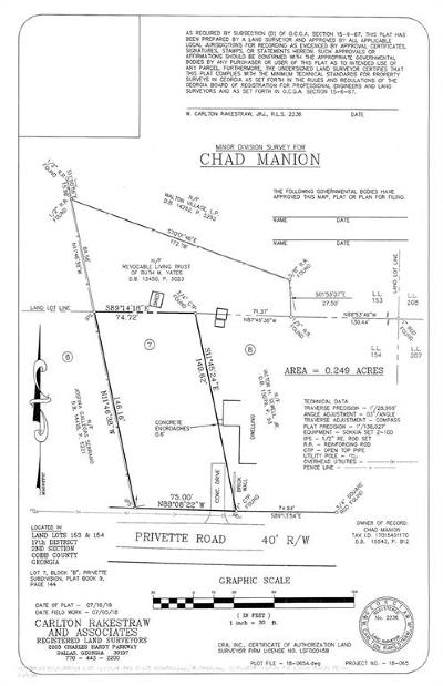Marietta Residential Lots & Land For Sale: Lot 7 Privette Road