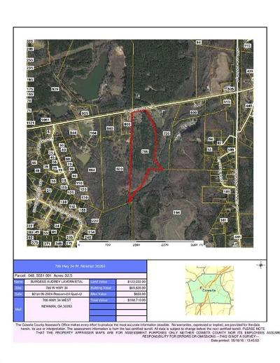 Coweta County Residential Lots & Land For Sale: 766 Hwy 34 W