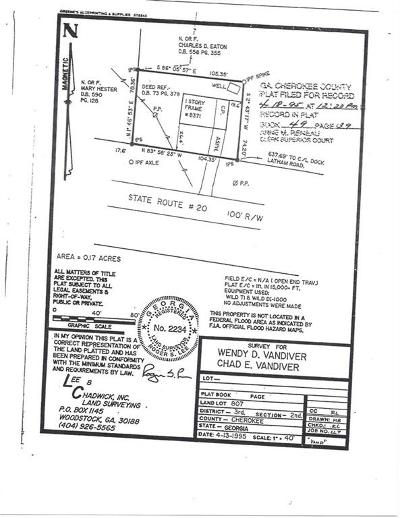 Canton Residential Lots & Land For Sale: 8371 Cumming Highway