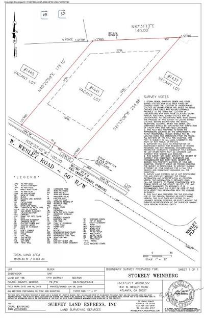 Atlanta Residential Lots & Land For Sale: 1441 W Wesley Road NW