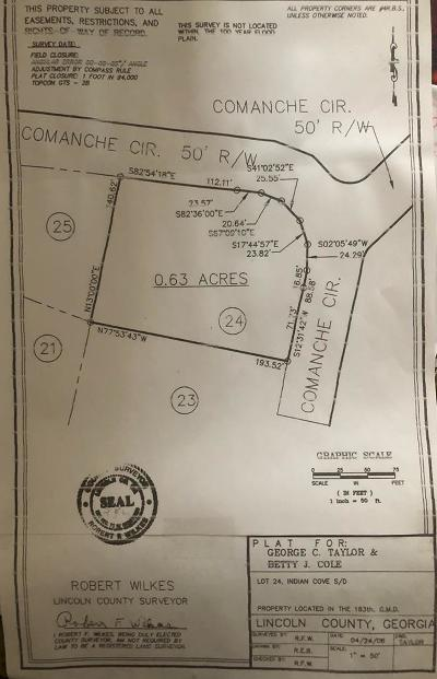 Lincolnton Residential Lots & Land For Sale: Comanche Circle