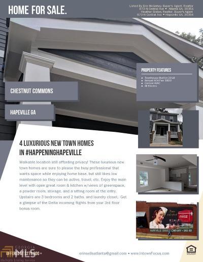 Hapeville Condo/Townhouse For Sale: 619 Chestnut St