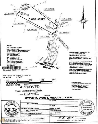 Lavonia Residential Lots & Land For Sale: Commonwealth Dr #11