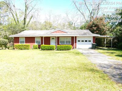Thomasville GA Single Family Home For Sale: $70,000