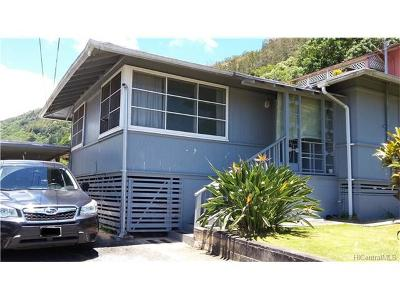 Honolulu Single Family Home In Escrow Showing: 1576 Wailele Street
