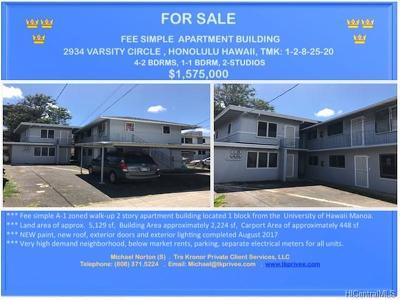 Honolulu Multi Family Home For Sale: 2934 Varsity Circle
