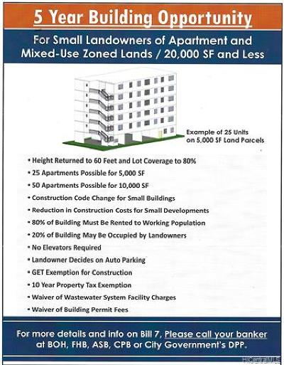 Honolulu County Residential Lots & Land For Sale: 1517 Spreckels Street #A
