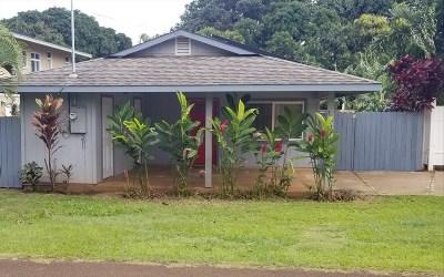 Kauai County Single Family Home For Sale: 376 Eggerking Rd #A