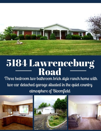 Bloomfield Single Family Home For Sale: 5184 Lawrenceburg Road
