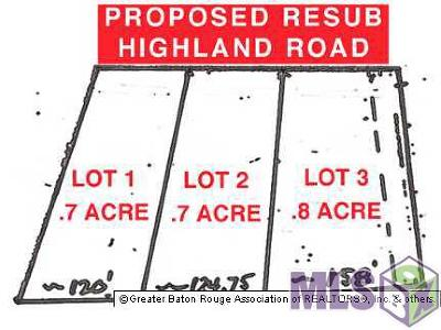 Baton Rouge Residential Lots & Land For Sale: Lot 2 Highland Rd