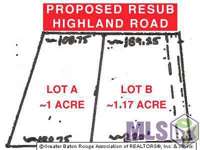 Baton Rouge Residential Lots & Land For Sale: Lot B Highland Rd