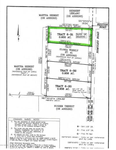 Vermilion Parish Residential Lots & Land For Sale: Tbd Romules Road