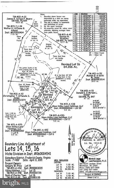 Frederick County Residential Lots & Land For Sale: Cedar Grove/Lot 16 Of Hicks