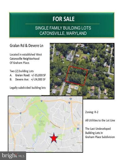 Catonsville Residential Lots & Land Under Contract: Gralan Road