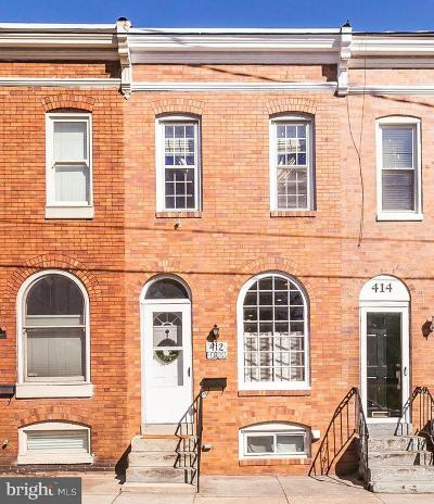 Baltimore Townhouse For Sale: 412 E Cross Street