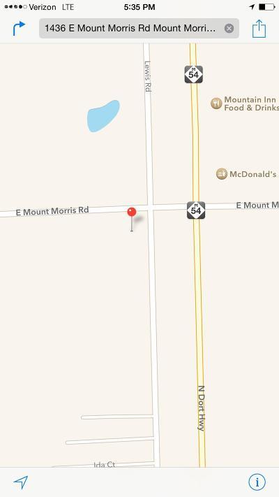 Mt. Morris Single Family Home For Sale: 1436 East Mount Morris Road