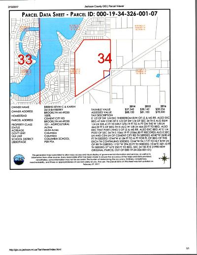 Brooklyn MI Residential Lots & Land For Sale: $127,600