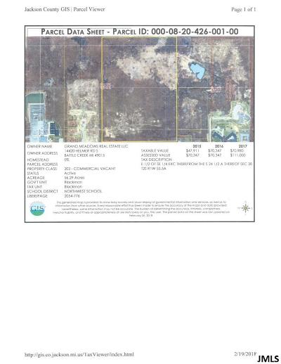 Jackson County Commercial Lots & Land For Sale: Vl Springport Rd
