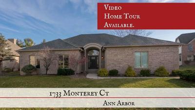 Ann Arbor Single Family Home For Sale: 1733 Monterey Ct