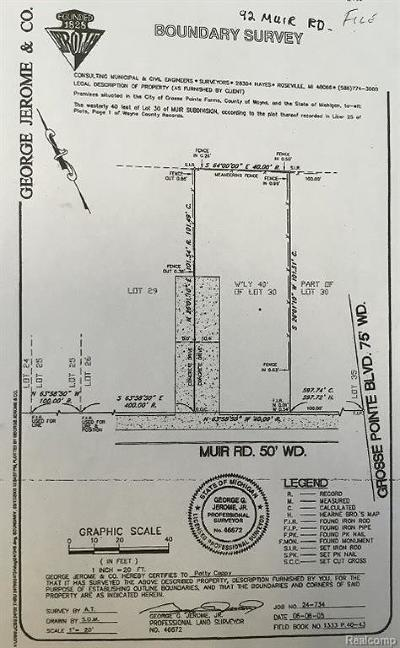Grosse Pointe Farms Residential Lots & Land Pending: 92 Muir Rd
