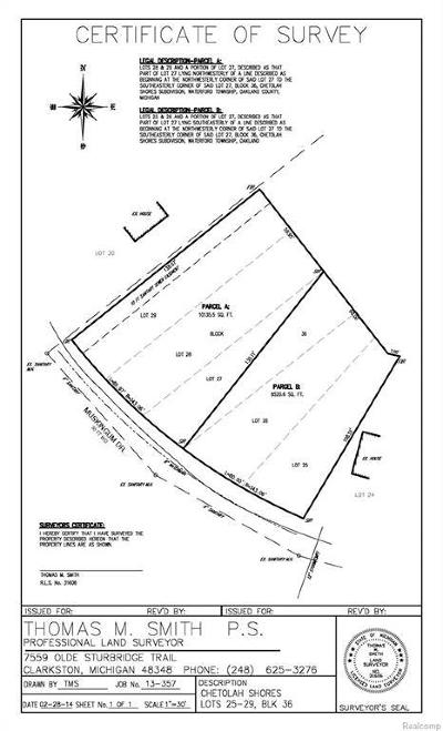 Oakland Residential Lots & Land For Sale: Muskingum