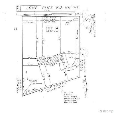 Bloomfield Twp Residential Lots & Land For Sale: 1455 Lone Pine Road Road