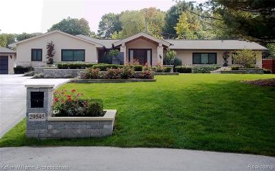 Farmington Hills Single Family Home For Sale: 29545 Minglewood Court