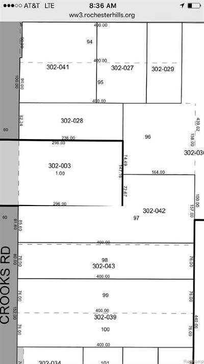 Rochester Hills Residential Lots & Land For Sale: Crooks