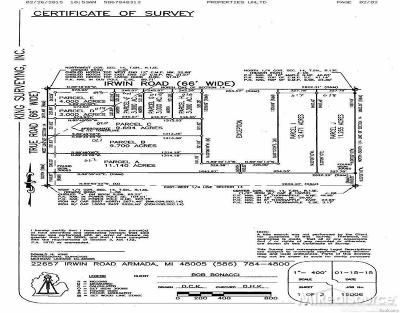 Armada Twp Residential Lots & Land For Sale: Irwin Road