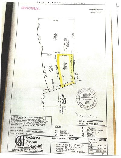 Gwinn Residential Lots & Land For Sale: Mehl Lake #Parcel G
