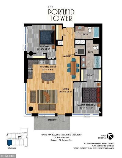Minneapolis Condo/Townhouse For Sale: 740 Portland Avenue #1307