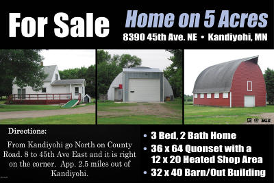 Kandiyohi MN Single Family Home For Sale: $179,500