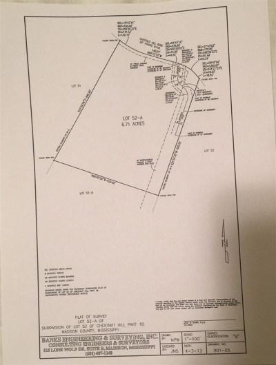 Hinds County, Madison County, Rankin County Residential Lots & Land For Sale: Lot 52-A Chestnut Hill Rd