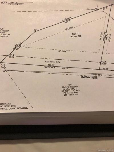 Waxhaw Residential Lots & Land For Sale: 9614 Simpson Road
