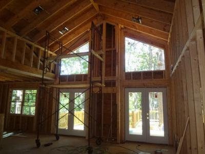 Tongue and Groove Ceiling - Rock Fireplace