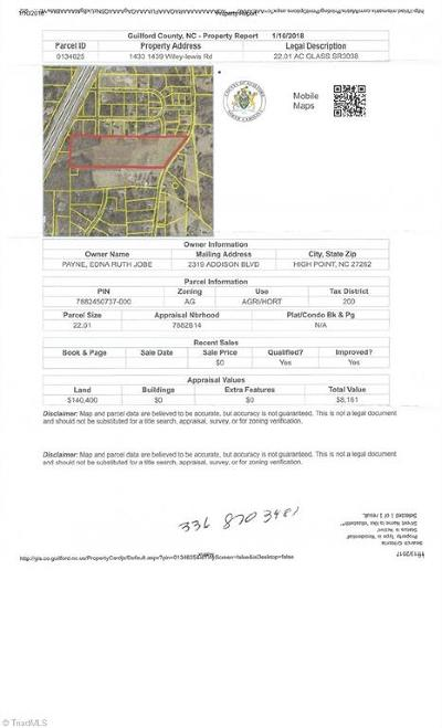Guilford County Residential Lots & Land For Sale: 1439 Wiley Lewis Road