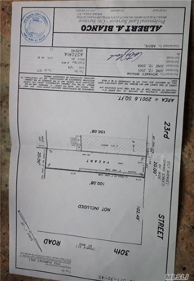 Queens County Residential Lots & Land For Sale: 30-45 23 St