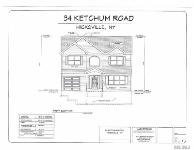 Hicksville Single Family Home For Sale: 34 Ketchams Rd