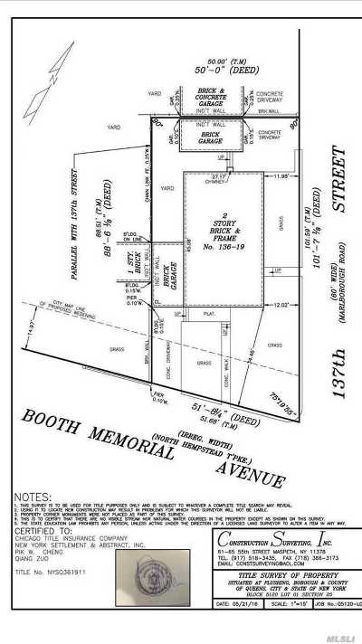 Flushing Residential Lots & Land For Sale: 136-19 Booth Memorial Ave