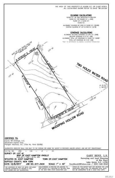 East Hampton Residential Lots & Land For Sale: Whooping Hollow Rd