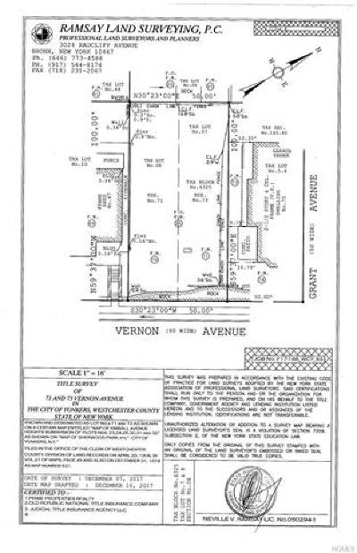 Yonkers Residential Lots & Land For Sale: 73 Vernon Avenue